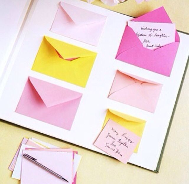 Great idea for a memory book for any occasion, have people write memos, messages and put in envelopes