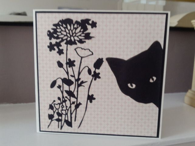 Open black cat card