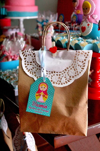 Matryoshka doll party favors from this gorgeous matryoshka girl birthday party!   CatchMyParty.com