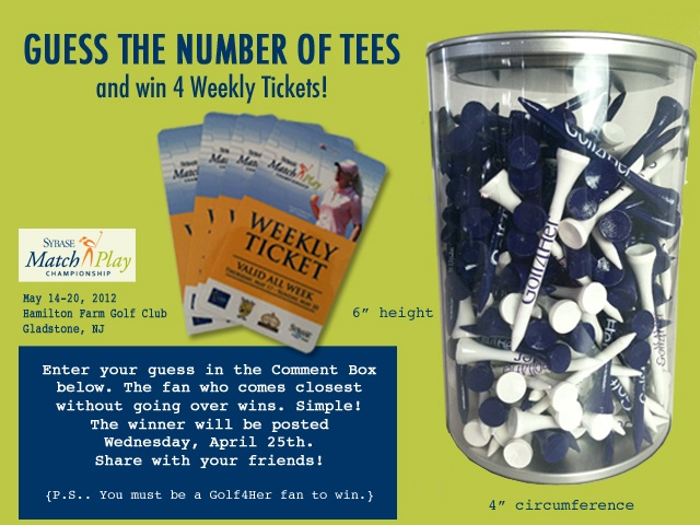 Guess the number of tees and win 4 tickets to #Sybase Match Play Championship. Enter your guess below.