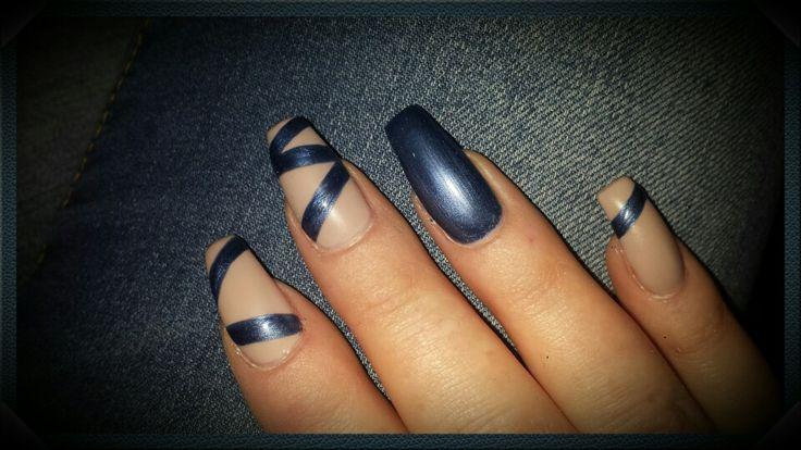 Blue nude nail matt look nageldesign pinterest blue for Matt nageldesign