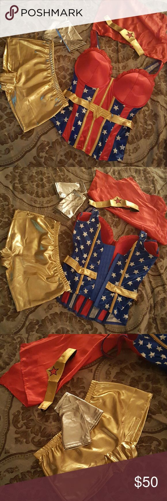 Sexy Women's Wonder Woman Halloween Costume Wonderful stretch comfortable boned corset, just purchased for a party I ended up not going to. Adjustible hook eye backing to loosen or make more snug fit. My loss is your gain. Classy sexy outfit :) complete set of everything~ Tops Camisoles