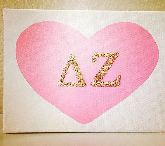 What a great gift for Sorority Sisters to give to each other :) This listing is for the 5 X 7 CANVAS ONLY! It is a PINK Heart with 2 inch Gold