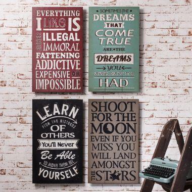 Wooden Typography Plaques Set of 4 - £99   brandinteriors.co.uk