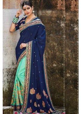 mer verte et couleur bleu marine soie & tussar sari de soie, -  304,00 €,  #Sariindienmariage  #Sarimariage  #Sariindien  #Robeindienne  #Sariindien2017  #Tenueindienne  #Shopkund
