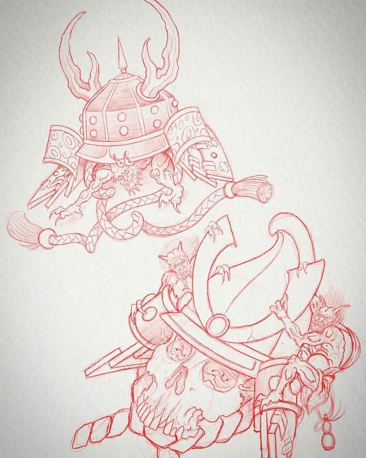 Sketching! #samurai #warrior #oni #yokai #tattooflash #skulls #tattooart #sketch…