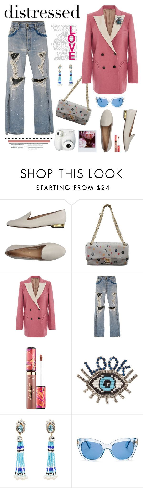 """""""True Blue: Distressed Denim"""" by hamaly ❤ liked on Polyvore featuring Charlotte Olympia, Chanel, Blazé Milano, Jonathan Simkhai, Polaroid, tarte, Shourouk, Kate Spade, outfit and denim"""