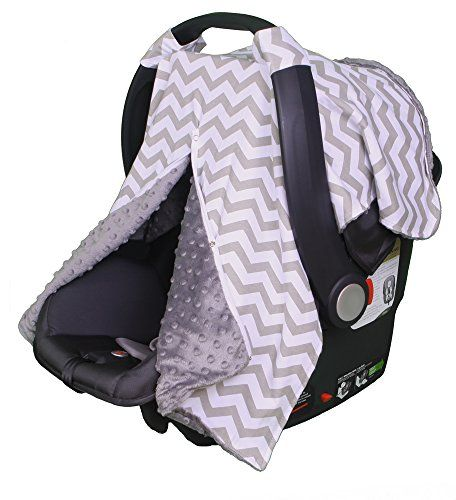 Carrier Cover for Infant Car Seat By Kids N' Such | Grey Chevron Print with Grey Minky Inside | Protects Babies From the Elements with Breathable Year-round Fabric | Attaches to Baby Carseat Via Velcro Straps | Many Fashionable Designs to Compliment Any Baby Decor | The Perfect Baby Shower Gift