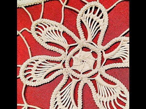 Macramè -punto ricamo foglie 1/ Romanian point lace - YouTube
