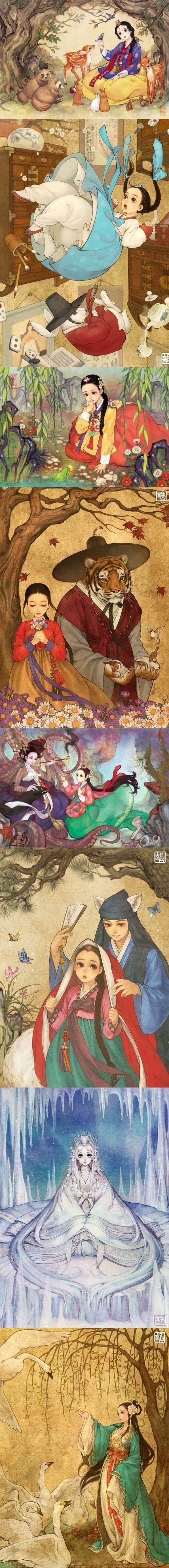 Korean illustrator, Na Young Wu (also known as @00obsidian00 on Twitter), gives Western fairy tales a whimsical Eastern makeover ~ Snow White, Alice in Wonderland, Princess and the Frog, Beauty and the Beast, Little Mermaid, Little Red Riding Hood, Frozen, and Swan Princess.: