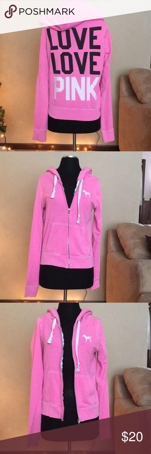 Victoria's Secret PINK Zip Up Hoodie Zip up hoodie, good condition PINK Victoria's Secret Tops Sweatshirts & Hoodies