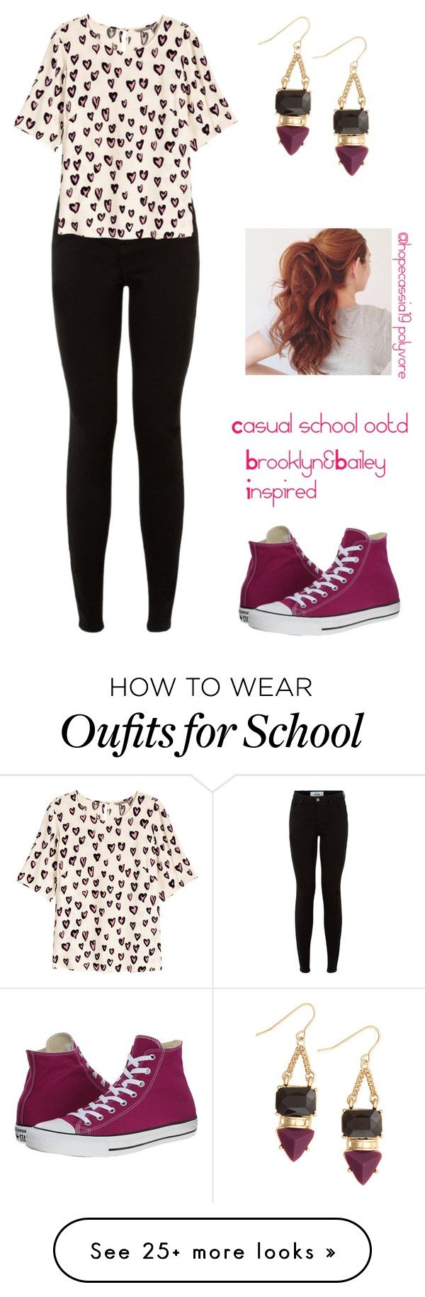 """Casual school ootd"" by hopecassia19 on Polyvore featuring moda, H&M i Converse"