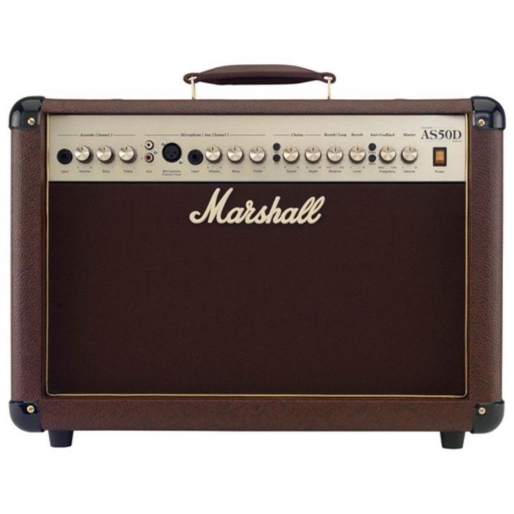 """Marshall's AS50D is a 50-watt, 2 x 8"""" acoustic guitar combo amp with 2 channels, including a phantom-powered microphone channel. It features a redesigned tweeter, digital chorus and reverb, and an ant"""