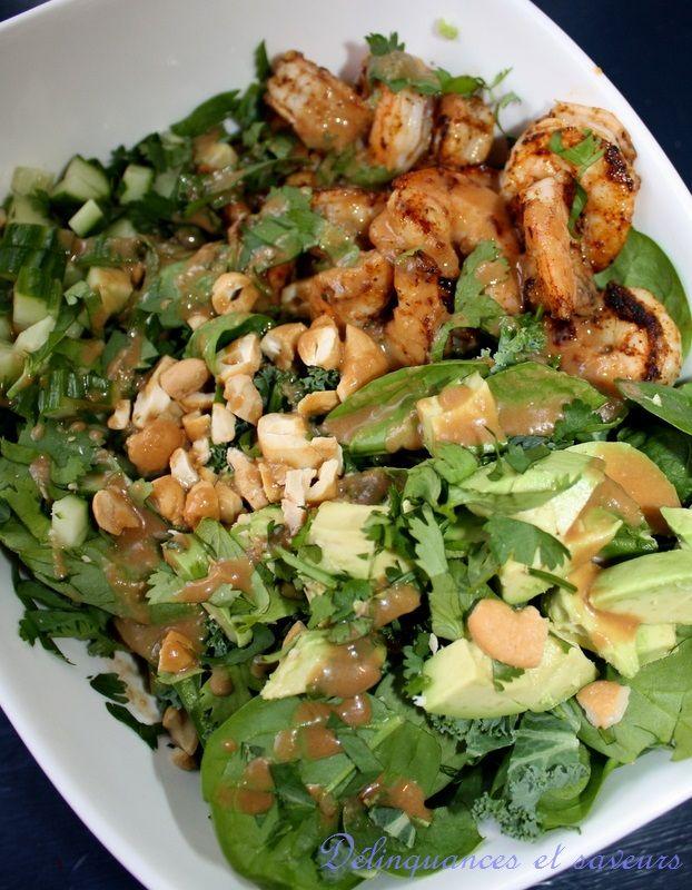 Délinquances et saveurs: Salade crevettes et avocat, vinaigrette au miso