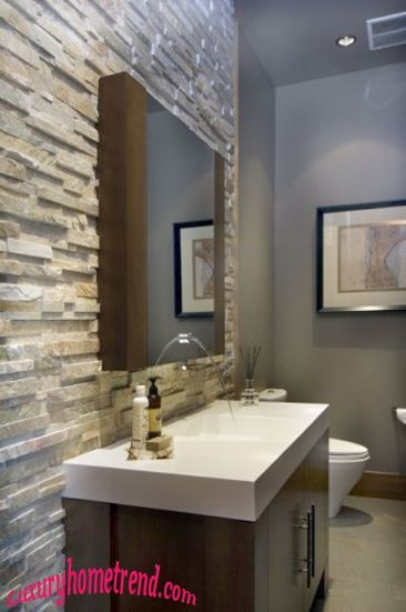 Natural Stone Bathroom. Love the stone as an accent wall!
