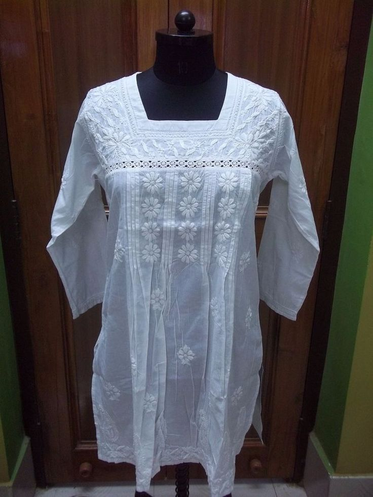 """M 40"""" L 42"""" ETHNIC 100% COTTON BLOUSE HANDMADE CHIKAN EMBROIDERY TOP TUNIC KURTA 