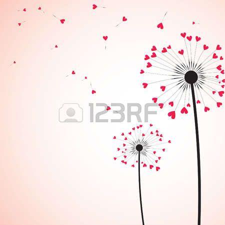 soffione: Silhouette di tarassaco coppia nel vento. Illustrazione vettoriale.