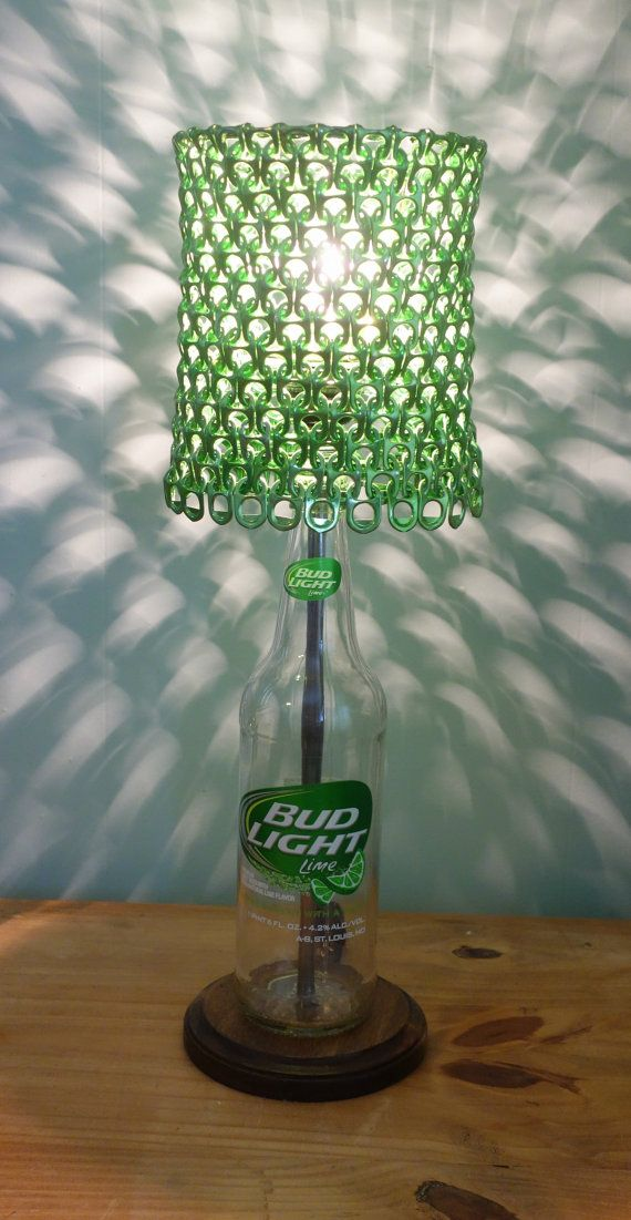 Bud Light Lime Bottle Lamp With Green Anodized Soda Tab