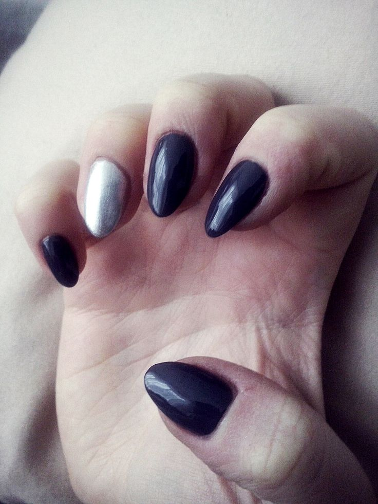 Natural long dark grey almond nails with metalic effect