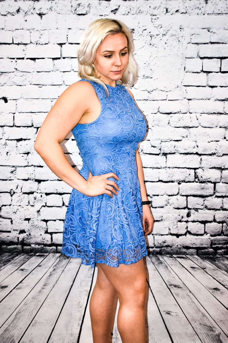 LACE LIGHT ROYAL SKATER DRESS  Our Lace Light Royal Skater Dress is the perfect dress for showers, a lunch date, summer cookouts, or on vacation! Beautiful floral lace lined with a slip in the same light royal blue color. Features a keyhole back with button closure and classic fit-and-flare skater silhouette.