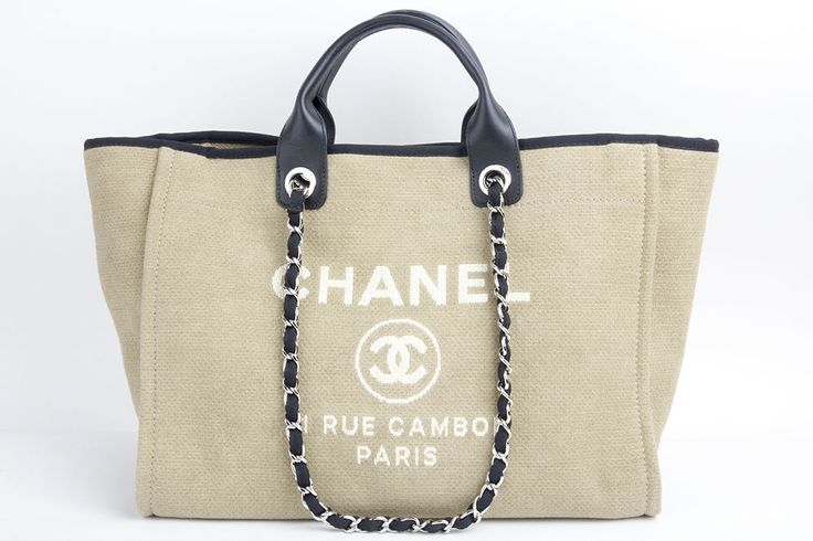 Auth Chanel Beige Canvas Deauville Shoulder Tote Shopper Bag #CHANEL #TotesShoppers