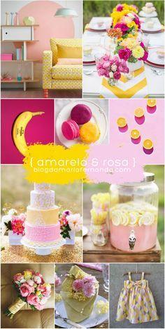 Decoração de Casamento Paleta de Cores Amarelo e Rosa   Inspiratiopn Board Wedding Color Palette Yellow and Pink