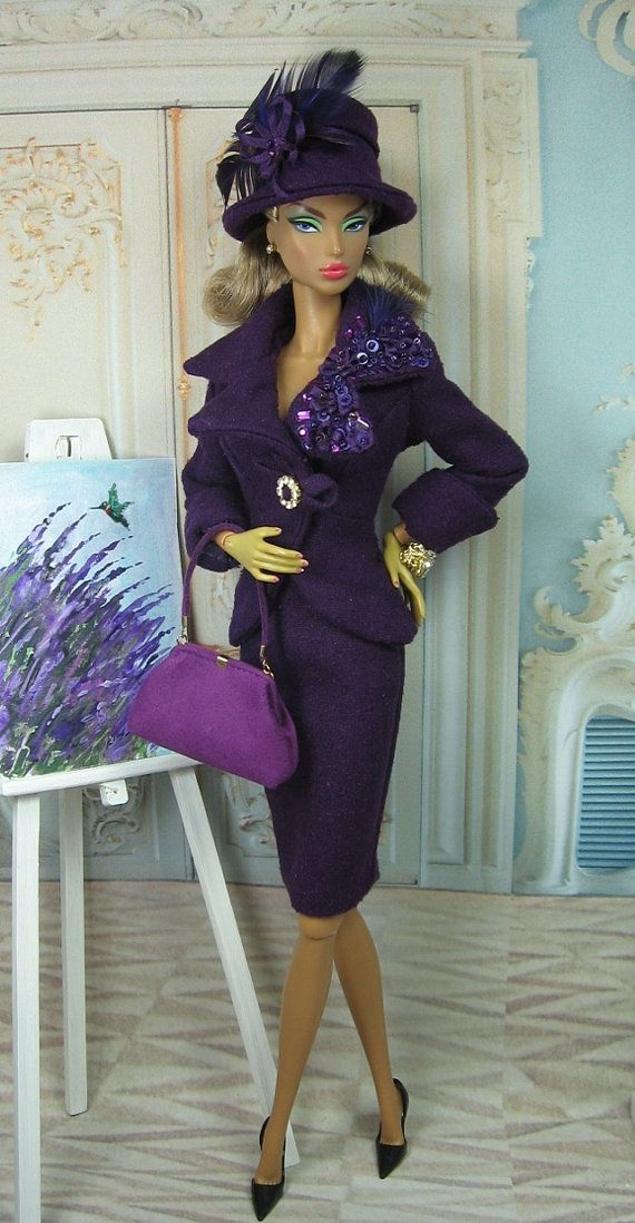 Jewel Thief for Silkstone Barbie and Victoire Roux--on sale for one hundred and forty five dollars. Silk suit fully lined, beaded and sequined broach, fabulous purse and hat. No doll, No shoes. http://www.etsy.com/listing/157019096/jewel-thief-for-silkstone-barbie-and?ref=shop_home_active
