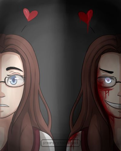 {StripeyStockings}  ---  Two sides doodle of Emiko my yandere girl. -- #yandere #creepy #character design #girl #anime #brunette #Yanderegirl #portait  ---  Find me also on: http://stripeystockings.deviantart.com/