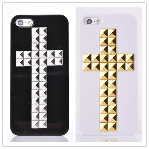 Silver stud case for iphone 5 5s case,Hard plastic case,Iphone 5s cases,gold cross cases,personalized cover best friend gift