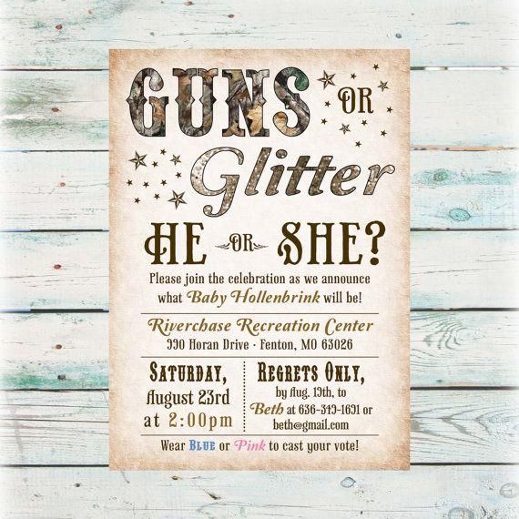 Printable Guns or Glitter Gender Reveal Party by BeyondDigital, $20.00