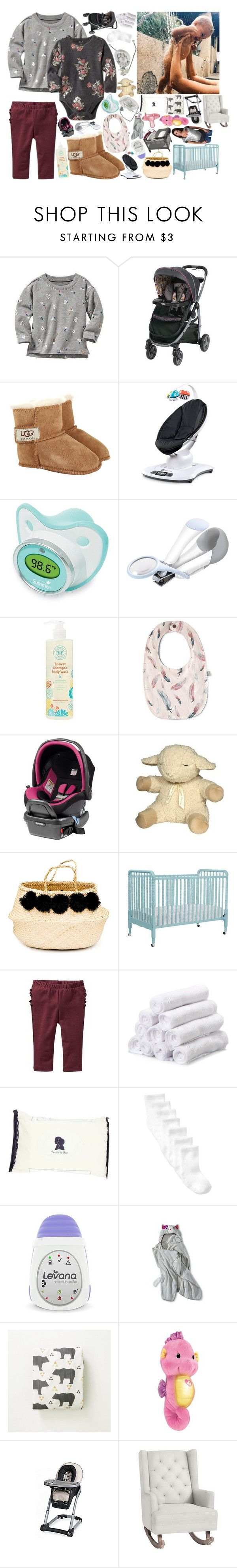 """My Baby's Gonna Be Adorable"" by sbhackney ❤ liked on Polyvore featuring Old Navy, UGG Australia, 4moms, Summer Infant, The First Years, The Honest Company, Fisher Price, Cloud B, Eliza Gran Studio and Noodle & Boo"