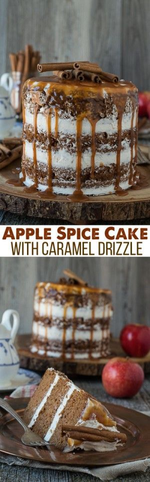 This apple spice cake with caramel drizzle is the best naked cake for fall! With applesauce in the batter, it's moist and delicious!