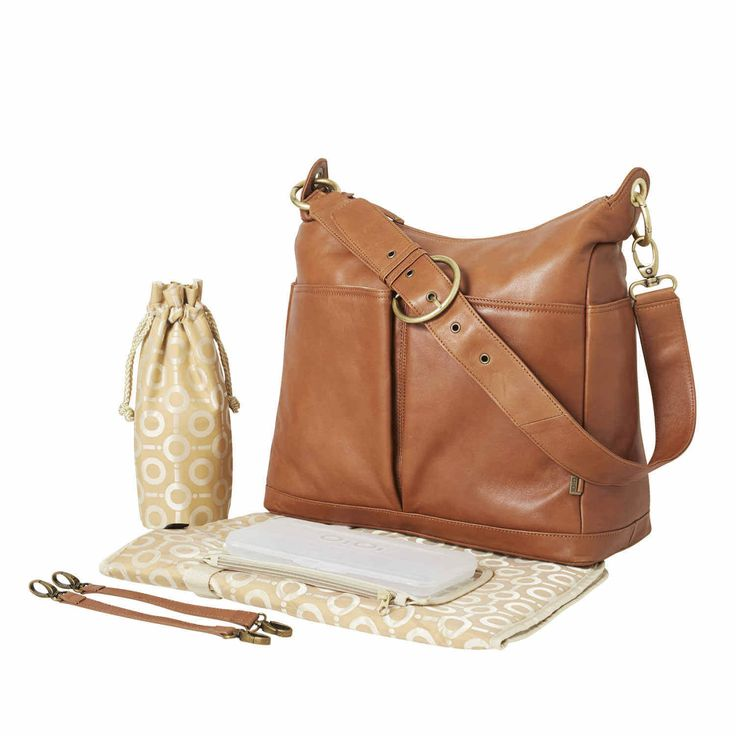 Soft Leather 2 Pocket Hobo Nappy Bag
