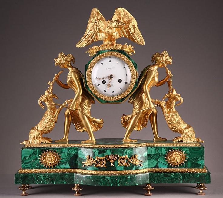 18th Century Louis XVI Gilt Bronze & Malachite Mantel Clock -- Via Atena Antiques