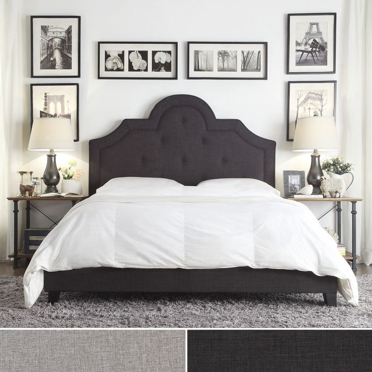 Create a luxurious and romantic boudoir with this glamorous headboard. Upholstered in luxurious linen, padded and beautifully tufted with both style and comfort in mind. This headboard includes a high...