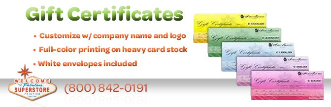 0Custom gift certificate printing services - create and print your custom gift certificate today. Top quality, affordable prices. Try our custom gift certificate printing services today.