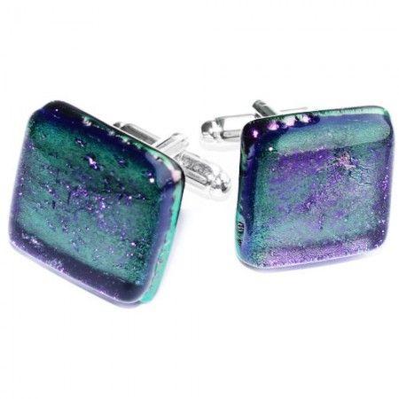 Paarse manchetknopen gemaakt van luxe paars glas. Unieke paarse glazen manchetknopen!
