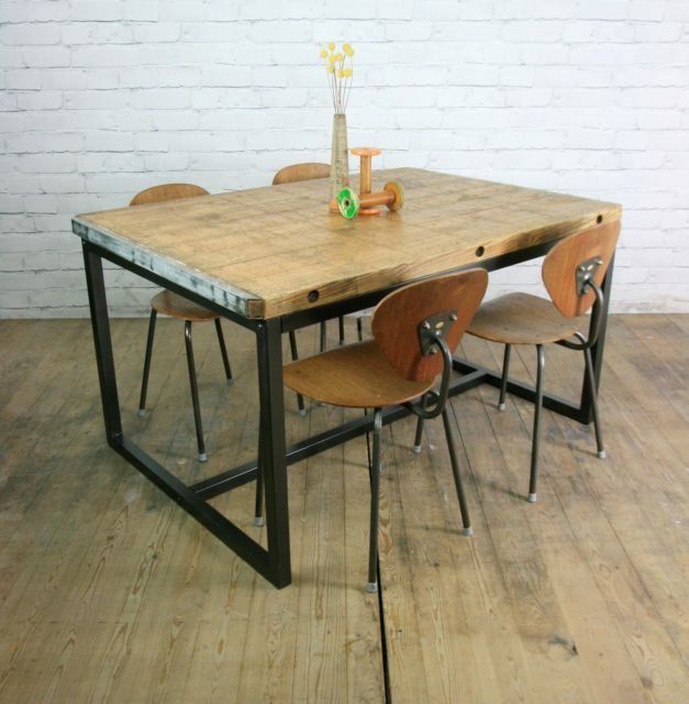 Bench Dining Vintage Industrial Bespoke Dining Table Bench: Vintage Industrial Brick Makers Steel Rustic Dining Table