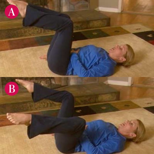 Step A: Lie on your back with your knees bent, feet flat on the ground. Lift your legs one at a time so that your calves are at a 90-degree angle to the floor. Place one hand on your belly and the other arm at your side, palm down, as shown. Step B: Pull your stomach muscles in and with a slow, smooth movement, open your legs as far as you can without puffing your belly out; slowly close your legs.   - Redbook.com