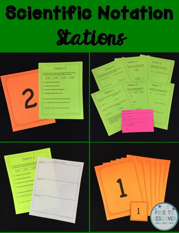 These stations make great practice or review for scientific notation concepts, including estimating very large and very small quantities in real contexts using scientific notation; comparing numbers written in scientific notation to determine the scale factor used to obtain the second from the first; and multiplying, dividing, adding, and subtracting numbers in scientific notation. Students practice by working collaboratively in groups and moving around the classroom.  By Free to Discover.