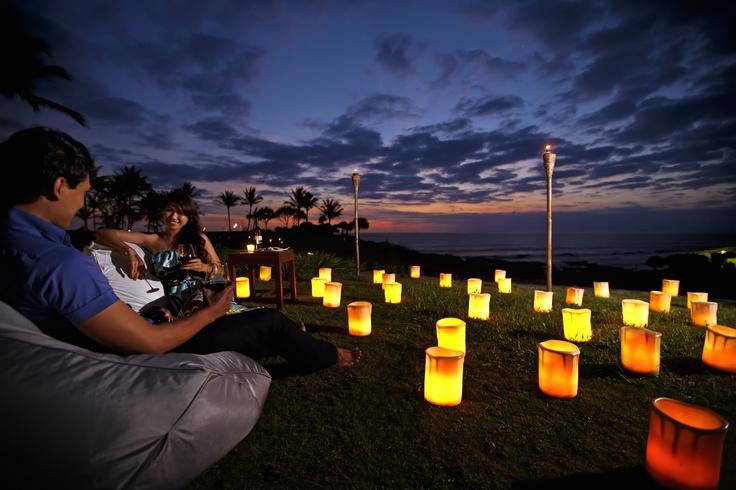 Enjoying sunset in the cliff lawn at Pan Pacific Nirwana Bali Resort