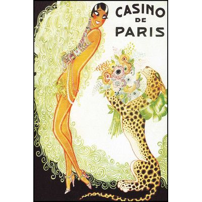 "House of Hampton Casino de Paris, Leopard Vintage Advertisement on Wrapped Canvas Size: 18"" H x 12"" W x 0.75"" D"