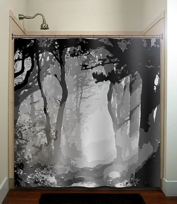 misty shades of gray woods forest tree shower by TablishedWorks, $67.00