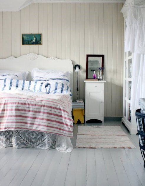 cottage bedroom bead board and painted floors