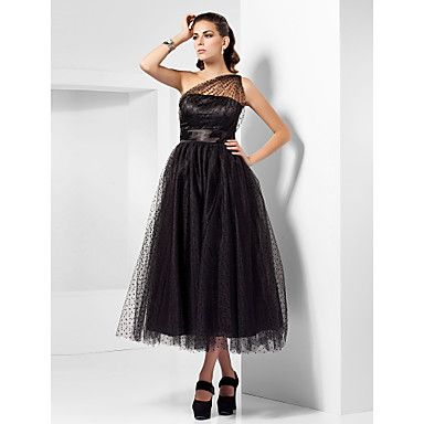 A-line One Shoulder Tea-length Tulle Cocktail Dress Inspired By Kaley Cuoco At The Emmys   – GBP £ 90.47