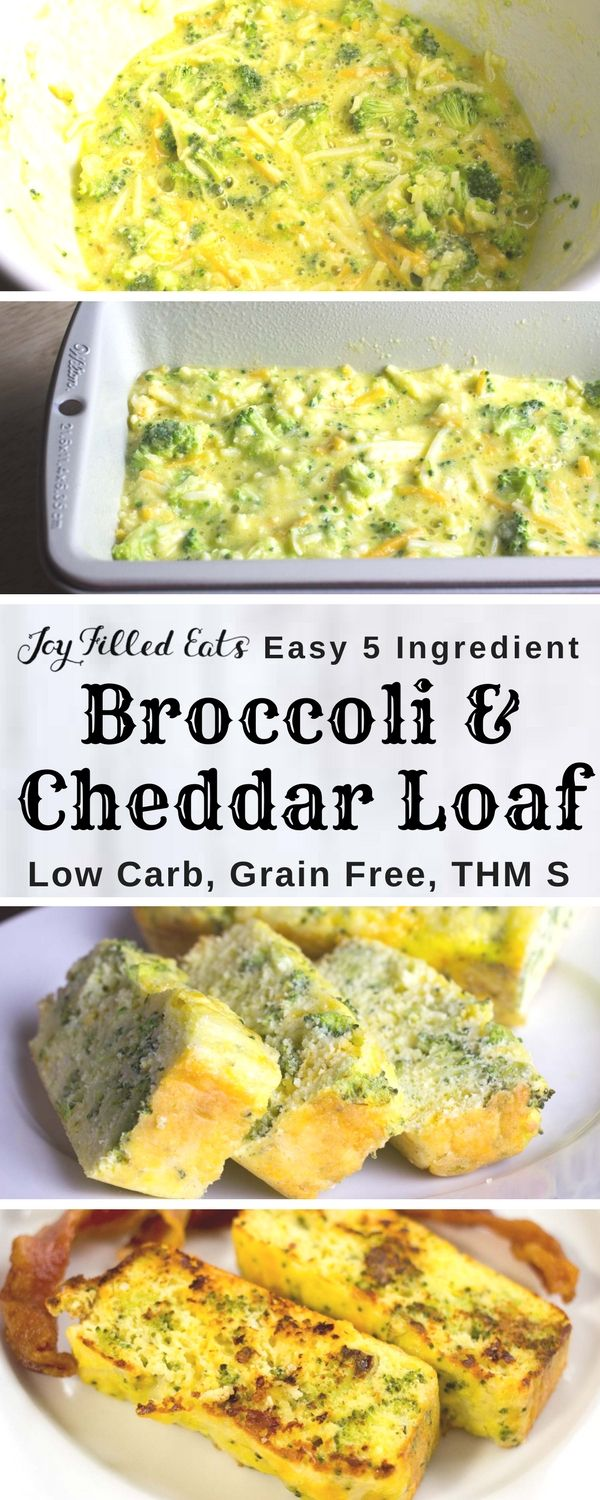 Broccoli & Cheddar Loaf - Low Carb, Grain & Gluten Free, THM S - This is a great breakfast, lunch, side dish, or snack. It mixes up in 5 minutes and has only 5 ingredients. It is nut free, grain free, gluten free, and a THM S. It also reheats well on busy mornings. via @joyfilledeats