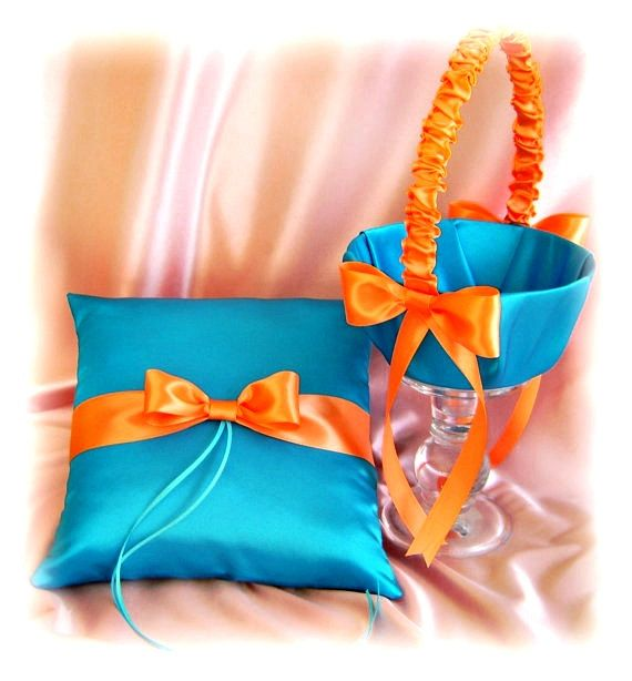 Turquoise and orange weddings ring bearer pillow and flower girl basket on Etsy, $70.00