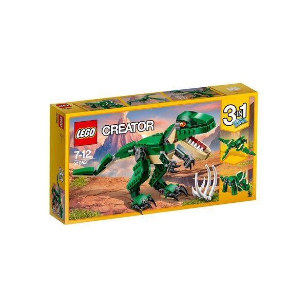 Tramp i vei med denne fryktinngytende T-Rex-en. Den er mørkegrønn og beige og har knall oransje øyne. Munnen kan åpnes, så de knivskarpe tennene vises. De digre klørne, hodet og halen kan beveges på mange måter. Settet inneholder også restene etter T-Rex' siste måltid! Kan bygges om til andre mektige dinosaurer: en diger Triceratops eller en skummel Pterodactyl.