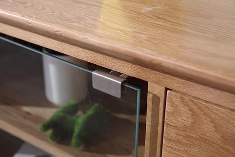 New Oak Large TV Unit With Glass Doors