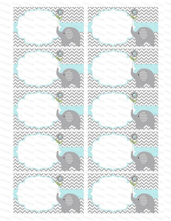 Blank insert for boy baby shower invitation thank you notes diaper raffle elephant baby shower boy baby shower (90b2b) instant download on Etsy, $3.00